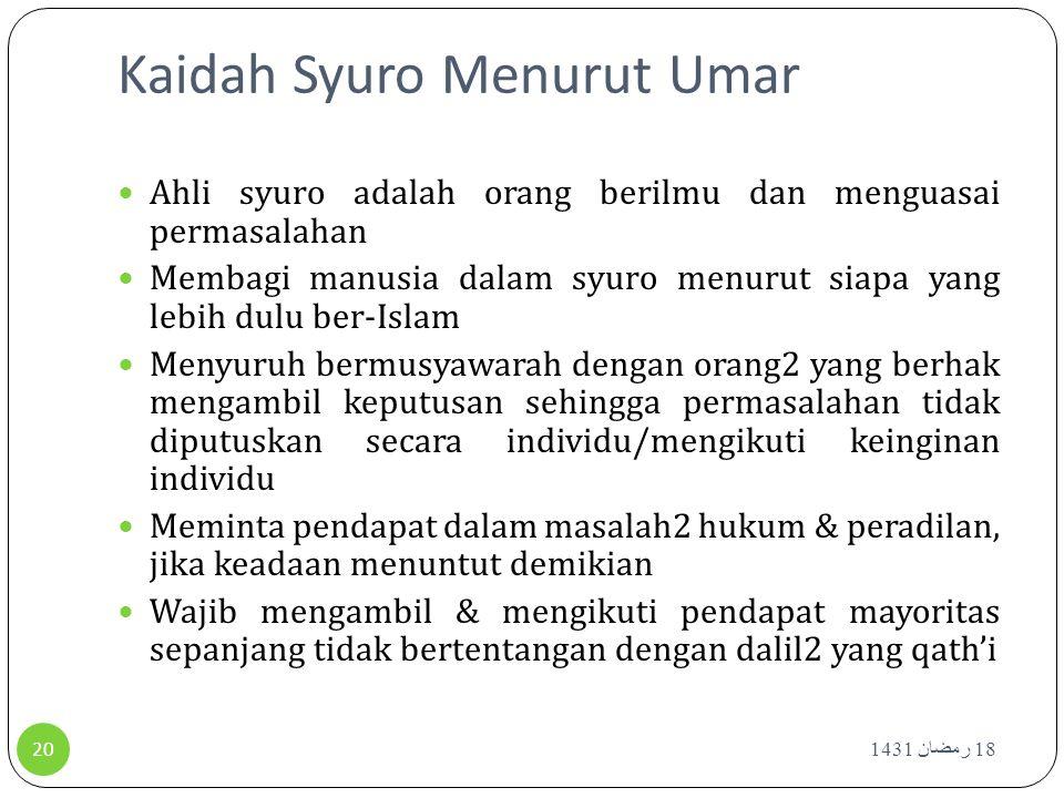 Kaidah Syuro Menurut Umar Ahli syuro adalah orang berilmu dan menguasai permasalahan Membagi manusia dalam syuro menurut siapa yang lebih dulu ber-Isl