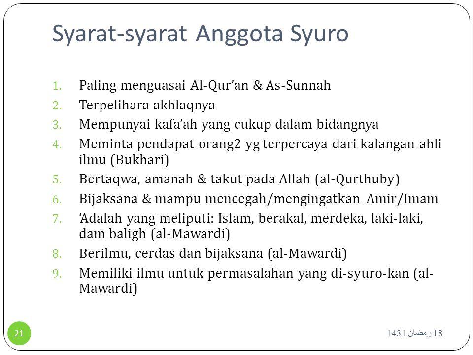 Syarat-syarat Anggota Syuro 1. Paling menguasai Al-Qur'an & As-Sunnah 2. Terpelihara akhlaqnya 3. Mempunyai kafa'ah yang cukup dalam bidangnya 4. Memi