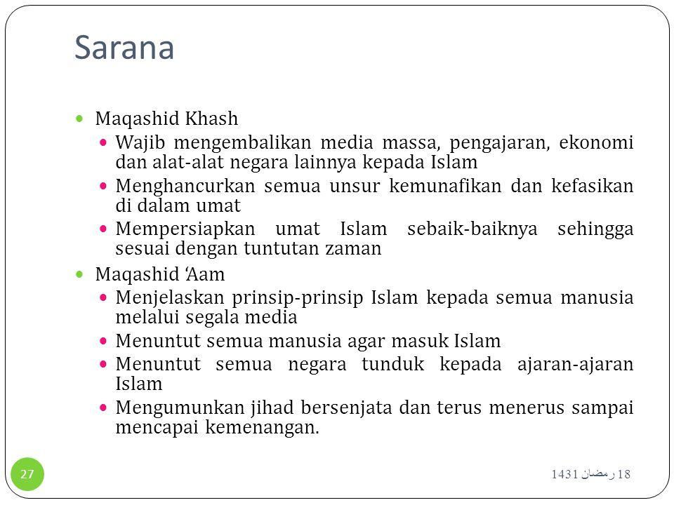 Sarana 18 رمضان 1431 27 Maqashid Khash Wajib mengembalikan media massa, pengajaran, ekonomi dan alat-alat negara lainnya kepada Islam Menghancurkan se