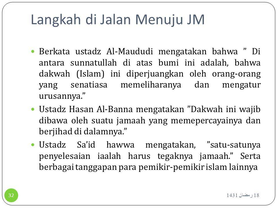 """Langkah di Jalan Menuju JM 18 رمضان 1431 32 Berkata ustadz Al-Maududi mengatakan bahwa """" Di antara sunnatullah di atas bumi ini adalah, bahwa dakwah ("""