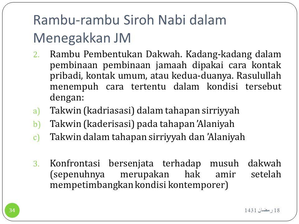 Rambu-rambu Siroh Nabi dalam Menegakkan JM 18 رمضان 1431 34 2. Rambu Pembentukan Dakwah. Kadang-kadang dalam pembinaan pembinaan jamaah dipakai cara k