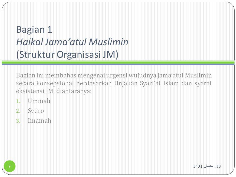 Haikal Jama'atul Muslimin 18 رمضان 1431 8 Ummah Syuro Imamah Tanpa adanya Ummah tidak akan ada Imamah Ketiga unsur ini adalah pembangun mutlak JM, kekurangan pada satu aspek akan meniadakan eksistensi JM