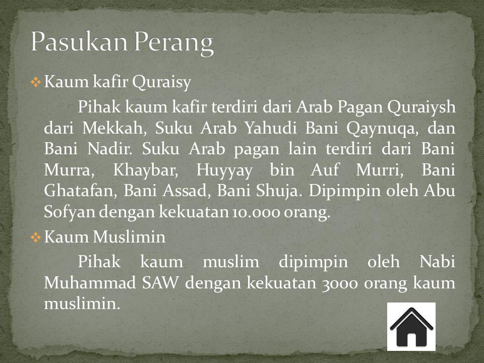  Kaum kafir Quraisy Pihak kaum kafir terdiri dari Arab Pagan Quraiysh dari Mekkah, Suku Arab Yahudi Bani Qaynuqa, dan Bani Nadir. Suku Arab pagan lai