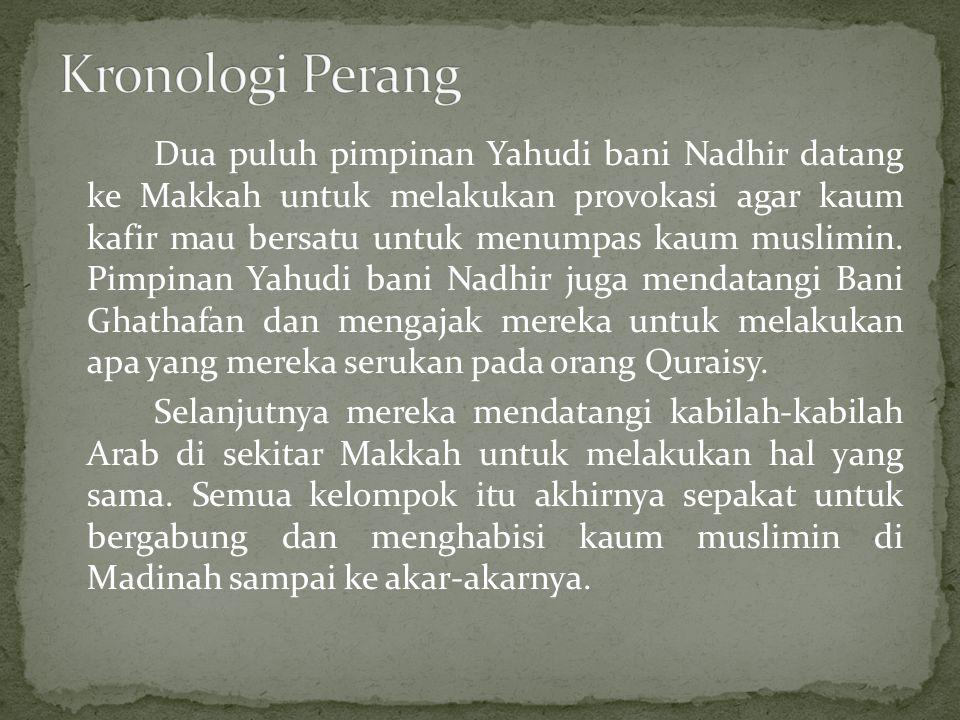 Dua puluh pimpinan Yahudi bani Nadhir datang ke Makkah untuk melakukan provokasi agar kaum kafir mau bersatu untuk menumpas kaum muslimin. Pimpinan Ya