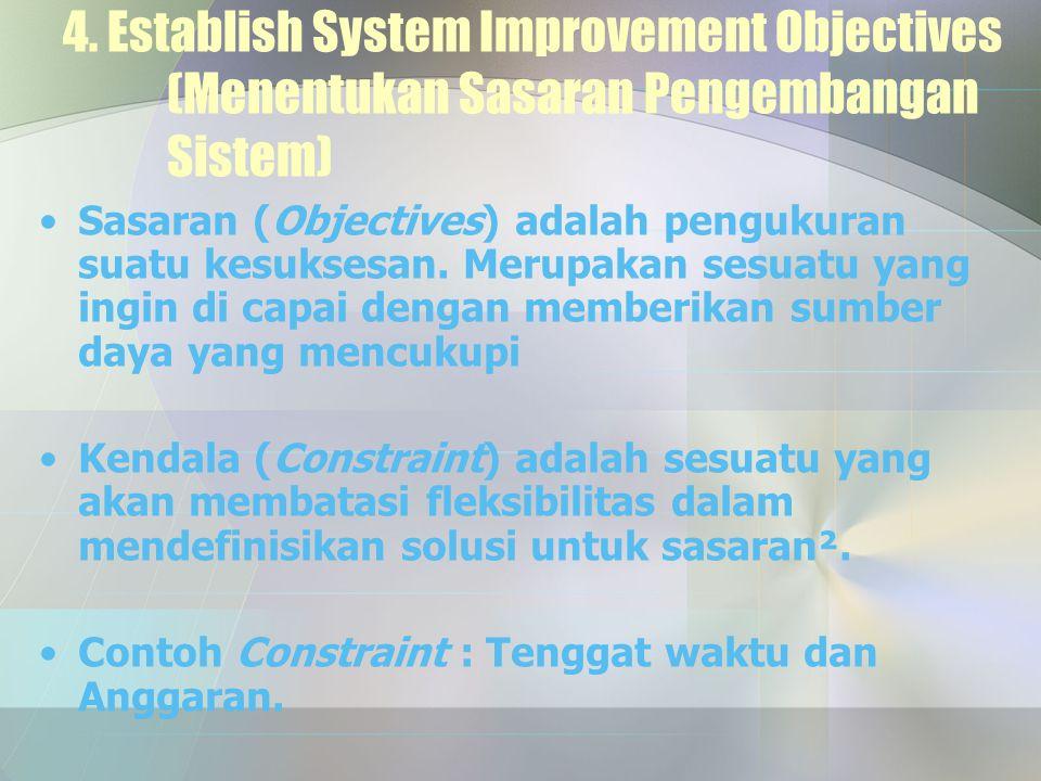 4. Establish System Improvement Objectives (Menentukan Sasaran Pengembangan Sistem) Sasaran (Objectives) adalah pengukuran suatu kesuksesan. Merupakan