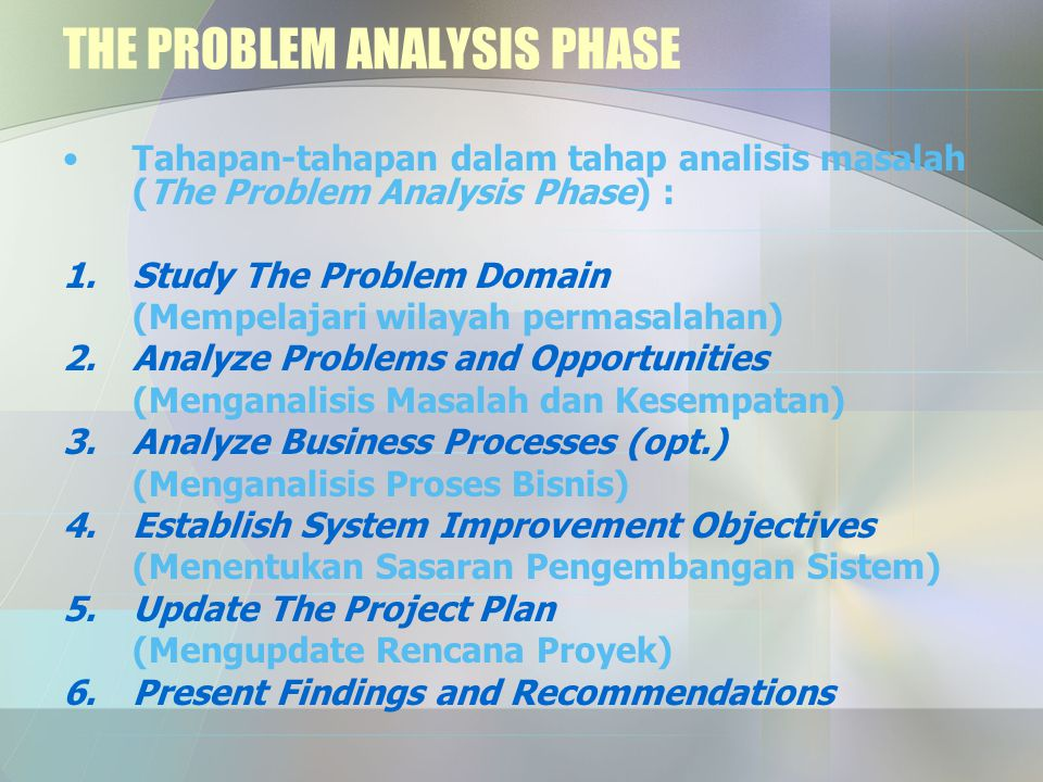 THE PROBLEM ANALYSIS PHASE Tahapan-tahapan dalam tahap analisis masalah (The Problem Analysis Phase) : 1.Study The Problem Domain (Mempelajari wilayah permasalahan) 2.Analyze Problems and Opportunities (Menganalisis Masalah dan Kesempatan) 3.Analyze Business Processes (opt.) (Menganalisis Proses Bisnis) 4.Establish System Improvement Objectives (Menentukan Sasaran Pengembangan Sistem) 5.Update The Project Plan (Mengupdate Rencana Proyek) 6.Present Findings and Recommendations