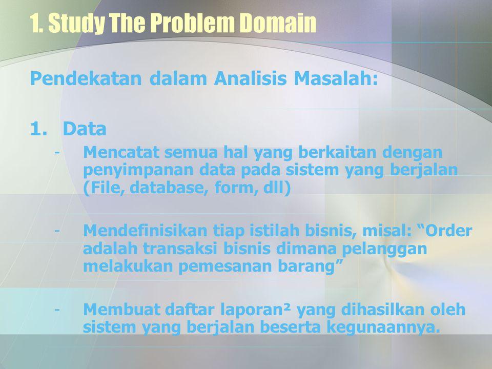 1. Study The Problem Domain Pendekatan dalam Analisis Masalah: 1.Data -Mencatat semua hal yang berkaitan dengan penyimpanan data pada sistem yang berj
