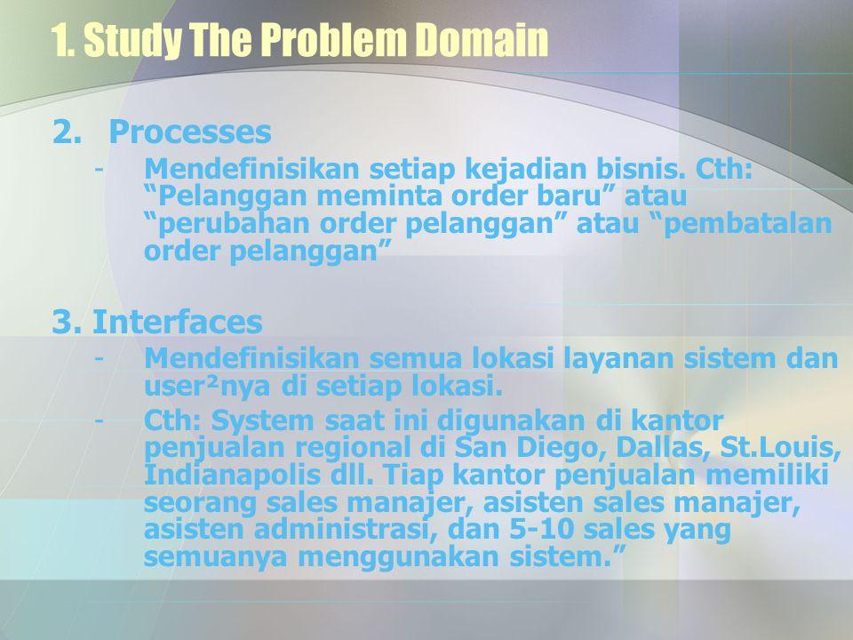 """1. Study The Problem Domain 2.Processes -Mendefinisikan setiap kejadian bisnis. Cth: """"Pelanggan meminta order baru"""" atau """"perubahan order pelanggan"""" a"""