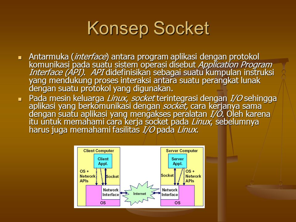 Procedure Server Melakukan prosedur pembukaan koneksi yang di dalamnya berupa langkah: Melakukan prosedur pembukaan koneksi yang di dalamnya berupa langkah: Membuat socket, Membuat socket, if ((sockfd = socket(AF_INET, SOCK_DGRAM, 0)) == -1) { perror( socket ); perror( socket ); exit(1); } exit(1); } Mengikat socket Mengikat socket if (bind(sockfd, (struct sockaddr *)&my_addr, sizeof(struct sockaddr)) == -1) { perror( bind ); perror( bind ); exit(1);} exit(1);} Pengalamatan socket Pengalamatan socket my_addr.sin_family = AF_INET; // host byte order my_addr.sin_family = AF_INET; // host byte order my_addr.sin_port = htons(MYPORT); // short, network byte order my_addr.sin_port = htons(MYPORT); // short, network byte order my_addr.sin_addr.s_addr = INADDR_ANY; // automatically fill with my IP my_addr.sin_addr.s_addr = INADDR_ANY; // automatically fill with my IP memset(&(my_addr.sin_zero), \0 , 8); // zero the rest of the struct memset(&(my_addr.sin_zero), \0 , 8); // zero the rest of the struct