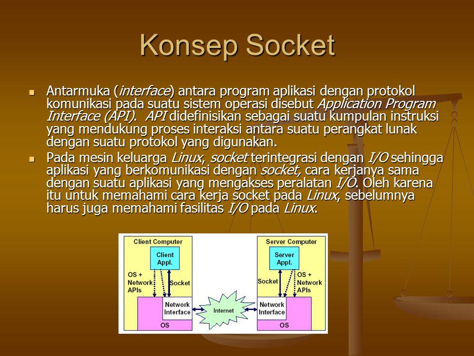 Konsep Socket Antarmuka (interface) antara program aplikasi dengan protokol komunikasi pada suatu sistem operasi disebut Application Program Interface (API).