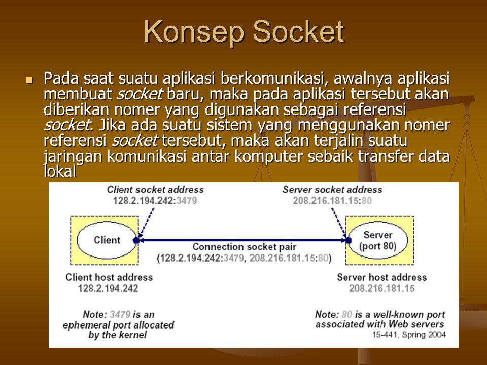 Konsep Socket Pada saat suatu aplikasi berkomunikasi, awalnya aplikasi membuat socket baru, maka pada aplikasi tersebut akan diberikan nomer yang digunakan sebagai referensi socket.