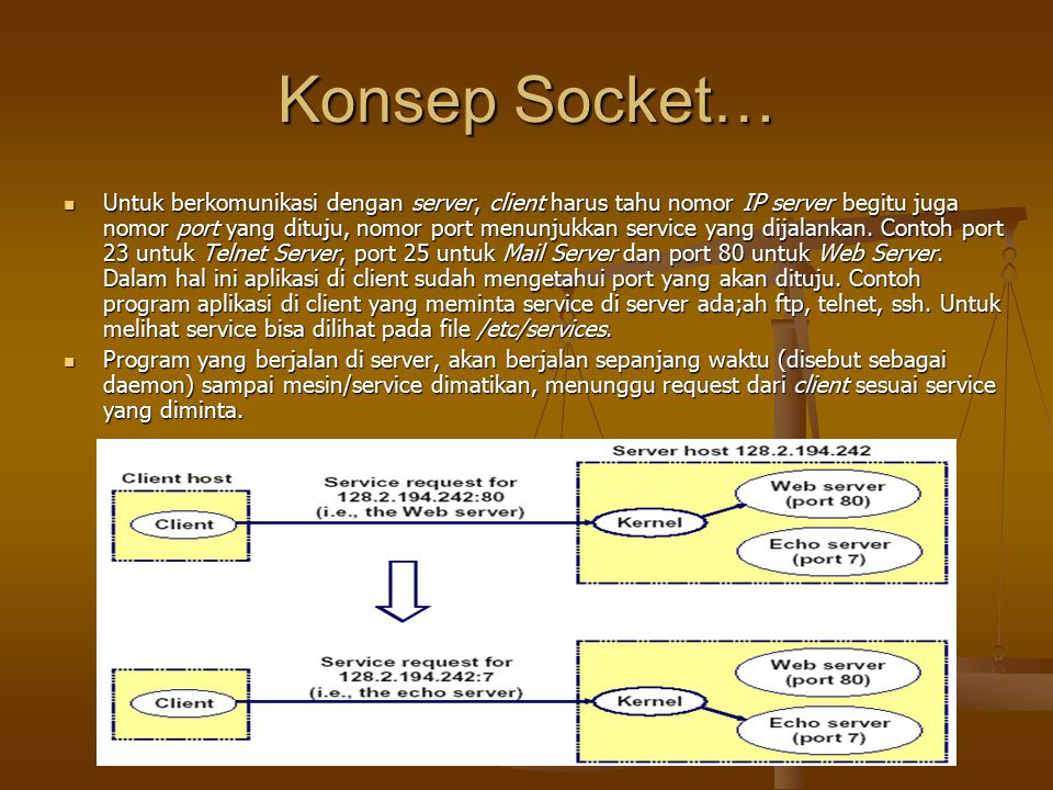 Konsep Socket… Untuk berkomunikasi dengan server, client harus tahu nomor IP server begitu juga nomor port yang dituju, nomor port menunjukkan service yang dijalankan.