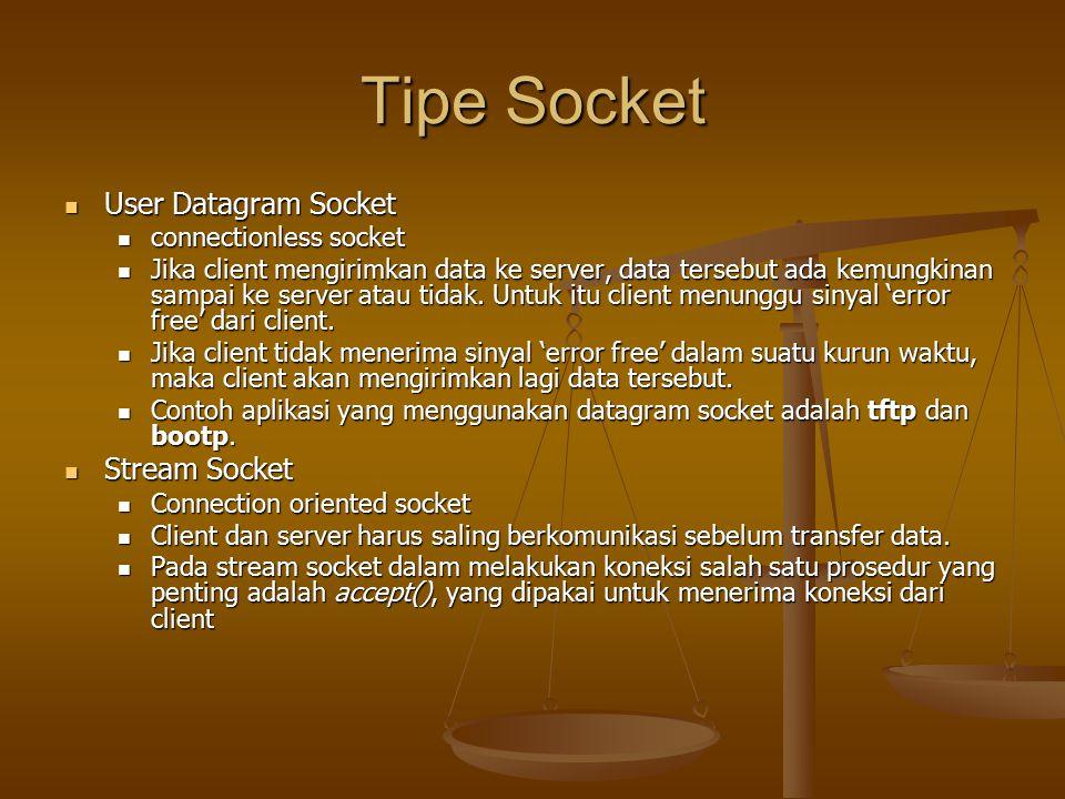 Tipe Socket User Datagram Socket User Datagram Socket connectionless socket connectionless socket Jika client mengirimkan data ke server, data tersebut ada kemungkinan sampai ke server atau tidak.