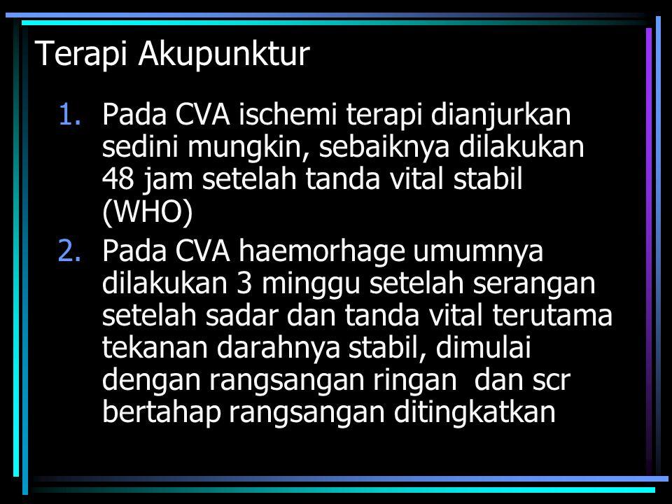 Terapi Akupunktur 1.Pada CVA ischemi terapi dianjurkan sedini mungkin, sebaiknya dilakukan 48 jam setelah tanda vital stabil (WHO) 2.Pada CVA haemorha