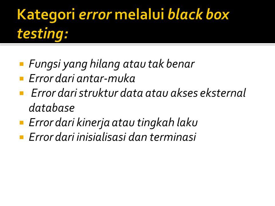  Fungsi yang hilang atau tak benar  Error dari antar-muka  Error dari struktur data atau akses eksternal database  Error dari kinerja atau tingkah