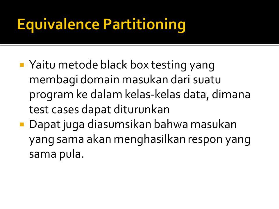  Yaitu metode black box testing yang membagi domain masukan dari suatu program ke dalam kelas-kelas data, dimana test cases dapat diturunkan  Dapat