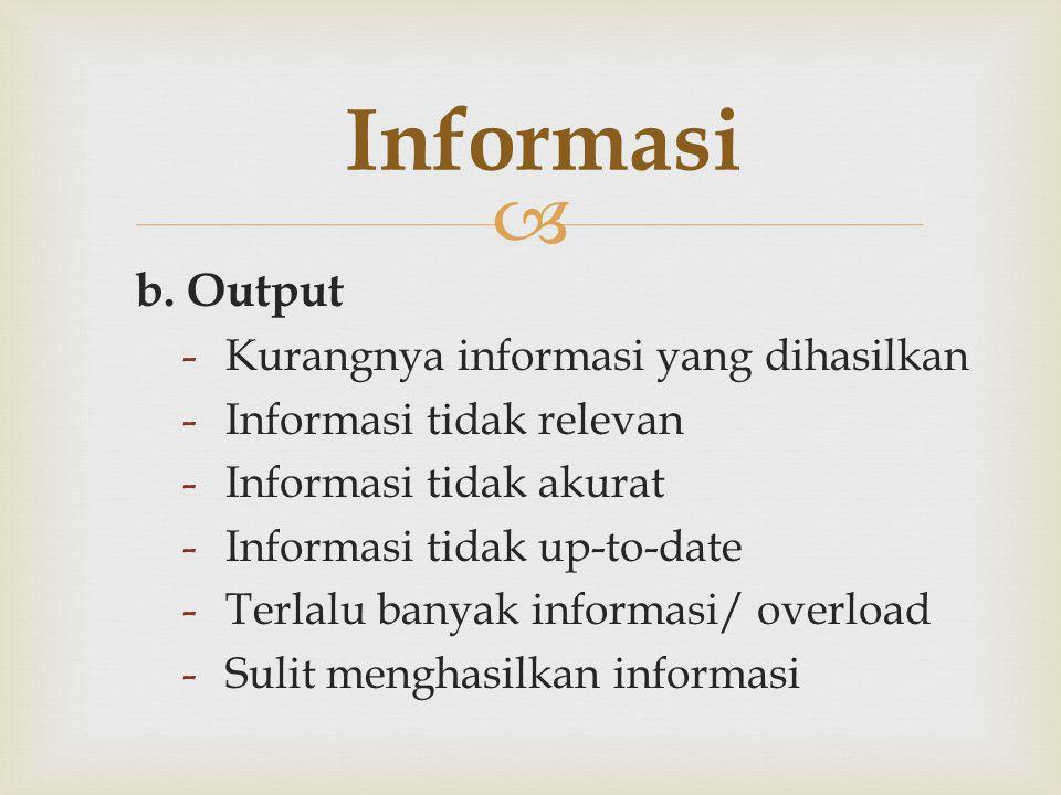  b. Output -Kurangnya informasi yang dihasilkan -Informasi tidak relevan -Informasi tidak akurat -Informasi tidak up-to-date -Terlalu banyak informas
