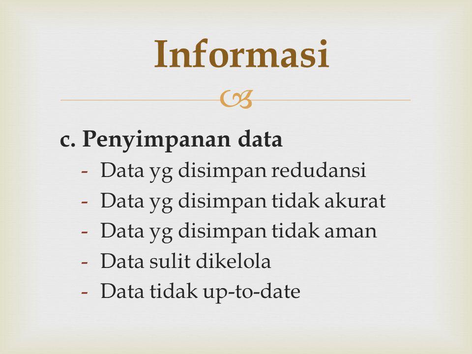  c. Penyimpanan data -Data yg disimpan redudansi -Data yg disimpan tidak akurat -Data yg disimpan tidak aman -Data sulit dikelola -Data tidak up-to-d