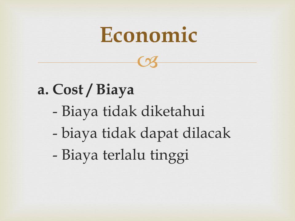  a. Cost / Biaya - Biaya tidak diketahui - biaya tidak dapat dilacak - Biaya terlalu tinggi Economic