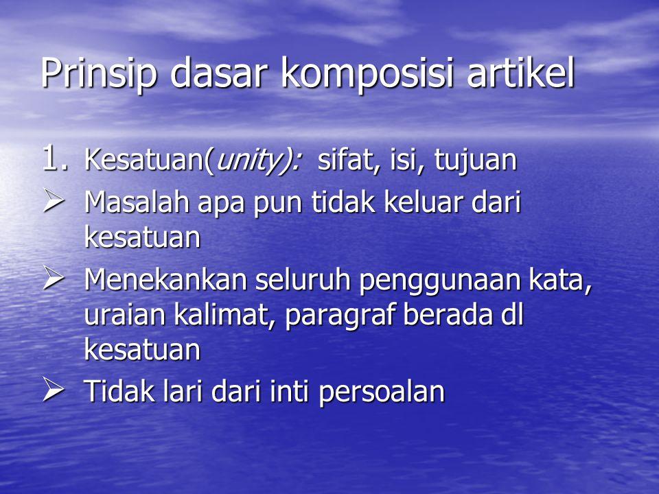 Prinsip dasar komposisi artikel 1.