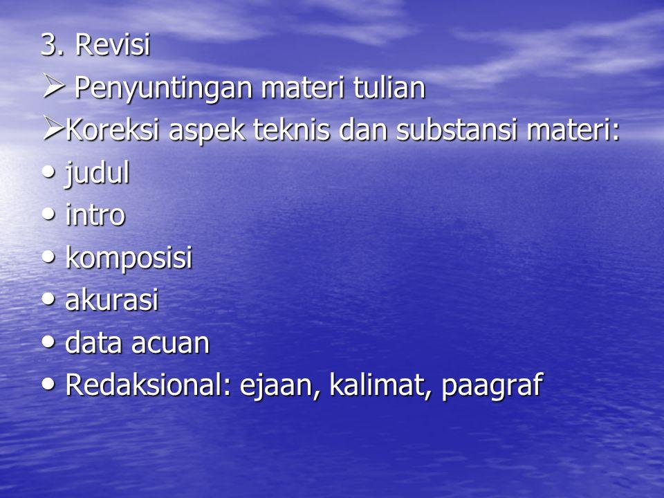 3. Revisi  Penyuntingan materi tulian  Koreksi aspek teknis dan substansi materi: judul judul intro intro komposisi komposisi akurasi akurasi data a
