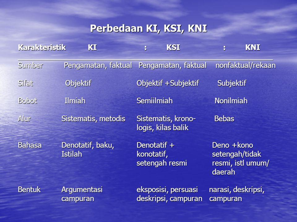 Perbedaan KI, KSI, KNI Karakteristik KI : KSI : KNI _______________________________________________________________ Sumber Pengamatan, faktual Pengama