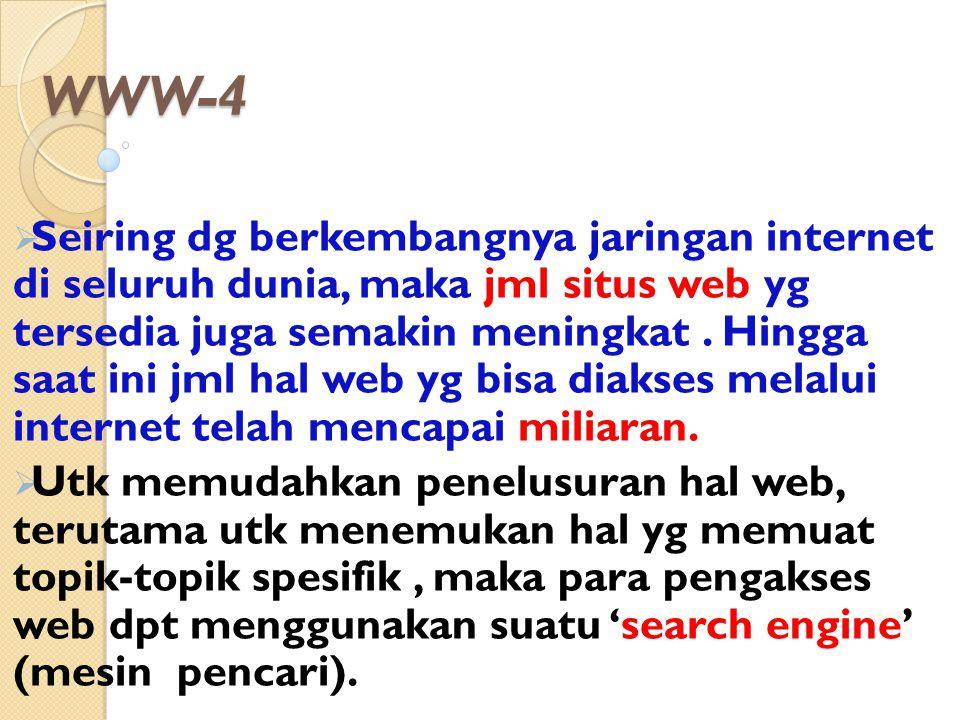 WWW-4  Seiring dg berkembangnya jaringan internet di seluruh dunia, maka jml situs web yg tersedia juga semakin meningkat. Hingga saat ini jml hal we