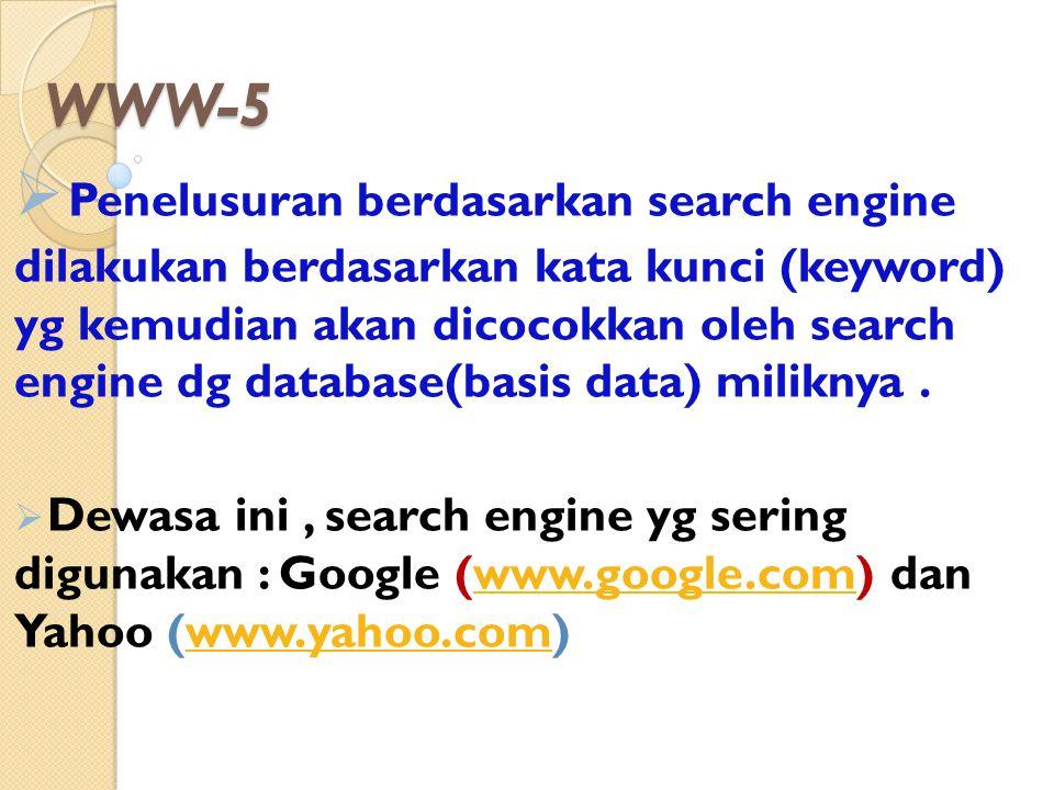 WWW-5  Penelusuran berdasarkan search engine dilakukan berdasarkan kata kunci (keyword) yg kemudian akan dicocokkan oleh search engine dg database(ba