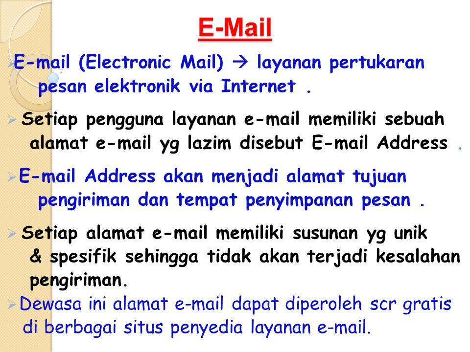 E-Mail  E-mail (Electronic Mail)  layanan pertukaran pesan elektronik via Internet.  Setiap pengguna layanan e-mail memiliki sebuah alamat e-mail y