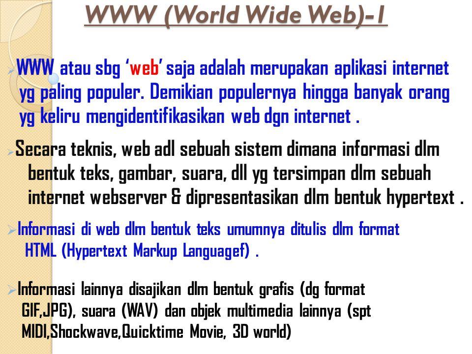 WWW (World Wide Web)-1  WWW atau sbg 'web' saja adalah merupakan aplikasi internet yg paling populer. Demikian populernya hingga banyak orang yg keli