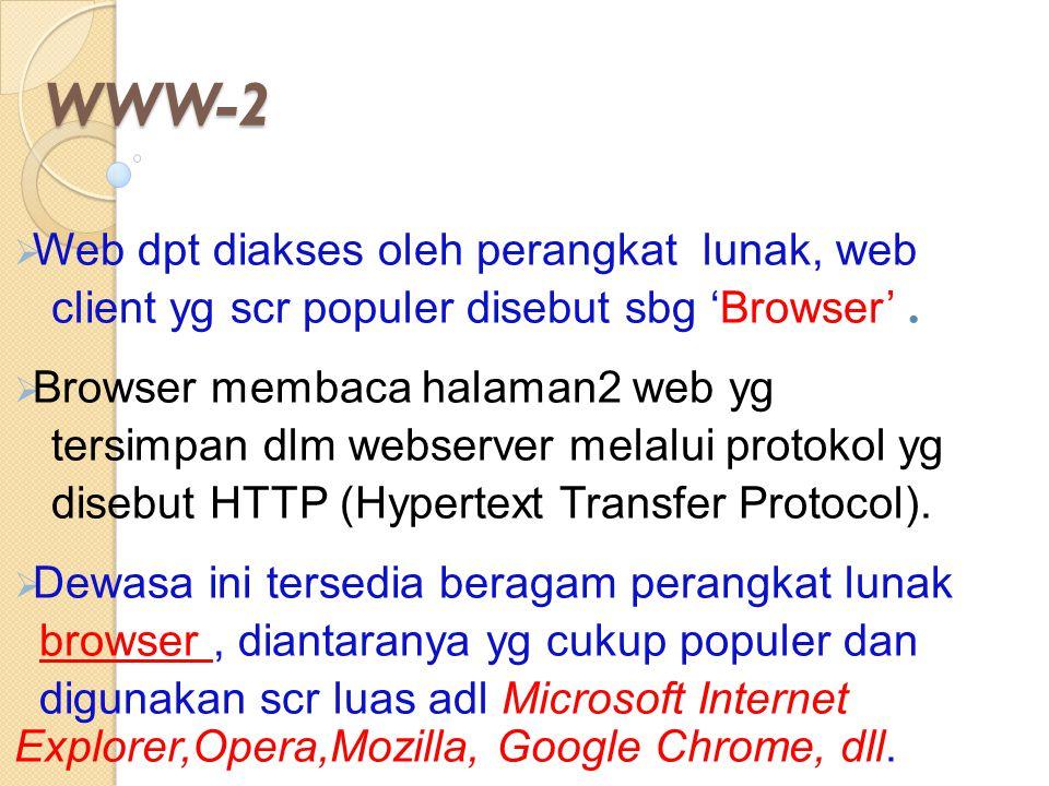 WWW-2  Web dpt diakses oleh perangkat lunak, web client yg scr populer disebut sbg 'Browser'.  Browser membaca halaman2 web yg tersimpan dlm webserv