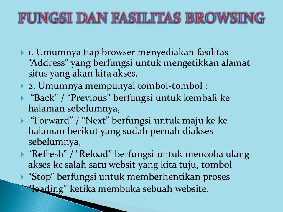 """ 1. Umumnya tiap browser menyediakan fasilitas """"Address"""" yang berfungsi untuk mengetikkan alamat situs yang akan kita akses.  2. Umumnya mempunyai t"""