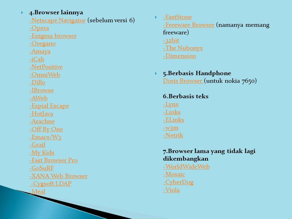  4.Browser lainnya -Netscape Navigator (sebelum versi 6) -Opera -Enigma browser -Oregano -Amaya -iCab -NetPositive -OmniWeb -Dillo -IBrowse -AWeb -Es