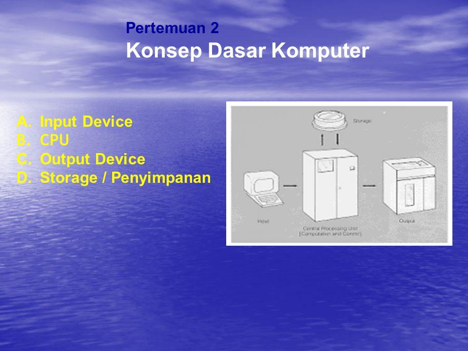 Pertemuan 2 Konsep Dasar Komputer A.Input Device B.CPU C.Output Device D.Storage / Penyimpanan
