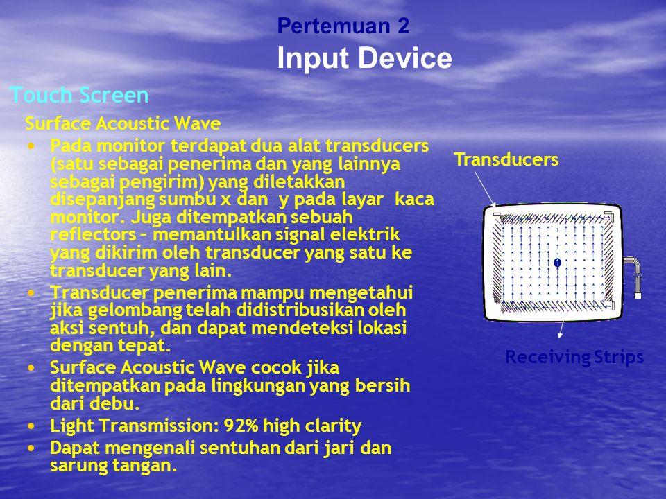 Touch Screen Surface Acoustic Wave Pada monitor terdapat dua alat transducers (satu sebagai penerima dan yang lainnya sebagai pengirim) yang diletakka