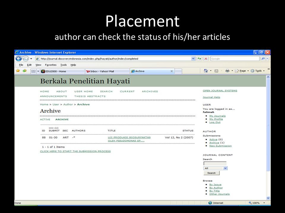 Placement author can check the status of his/her articles