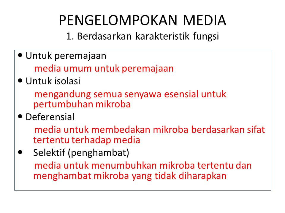 PENGELOMPOKAN MEDIA 1. Berdasarkan karakteristik fungsi Untuk peremajaan media umum untuk peremajaan Untuk isolasi mengandung semua senyawa esensial u