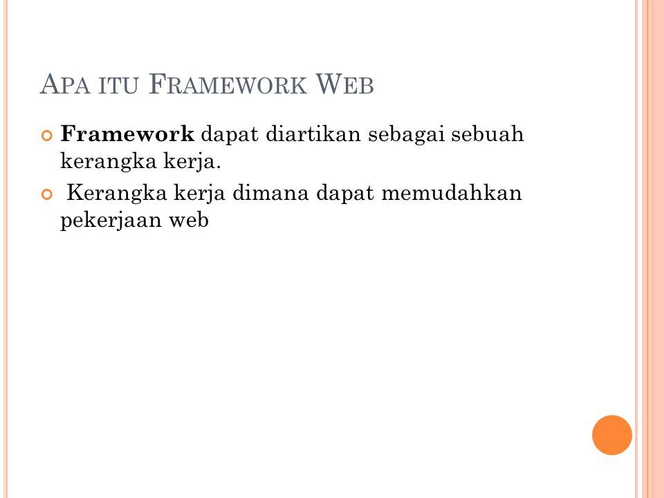 A PA ITU F RAMEWORK W EB Framework dapat diartikan sebagai sebuah kerangka kerja.