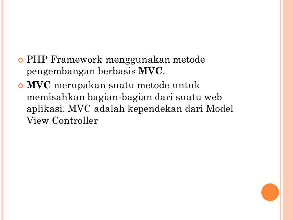 PHP Framework menggunakan metode pengembangan berbasis MVC.