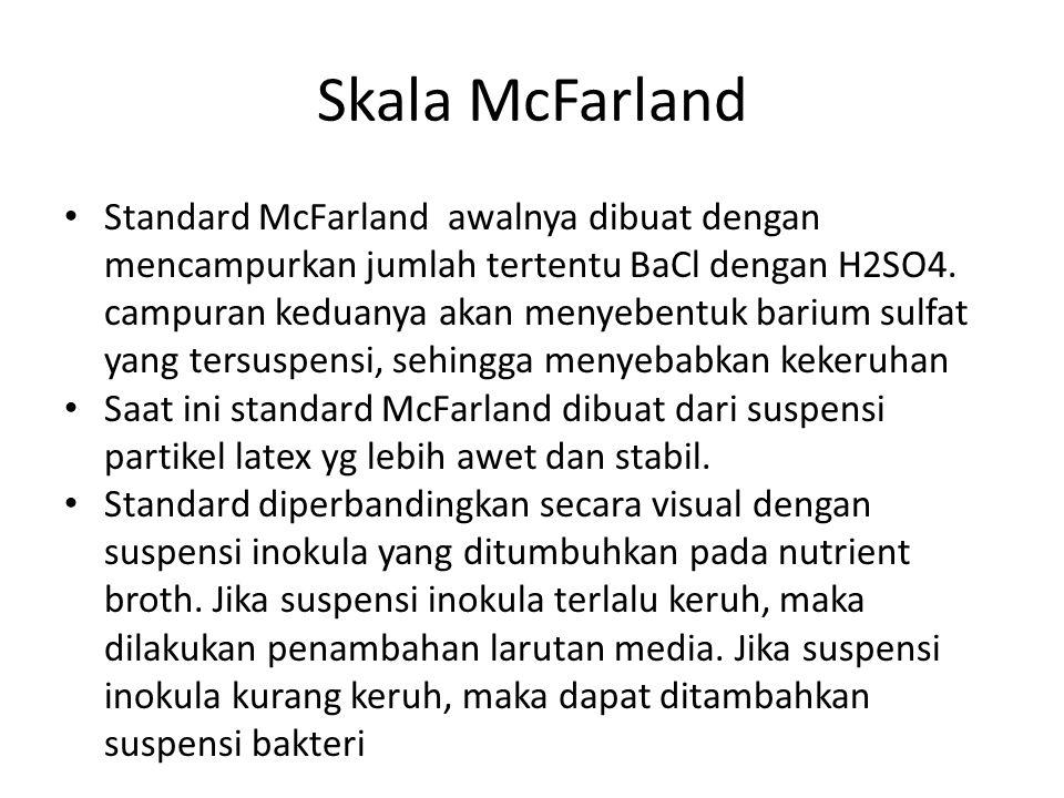 Skala McFarland Standard McFarland awalnya dibuat dengan mencampurkan jumlah tertentu BaCl dengan H2SO4.