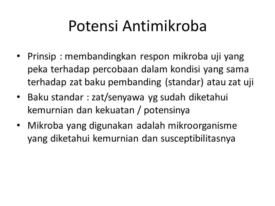 Potensi Antimikroba Prinsip : membandingkan respon mikroba uji yang peka terhadap percobaan dalam kondisi yang sama terhadap zat baku pembanding (stan