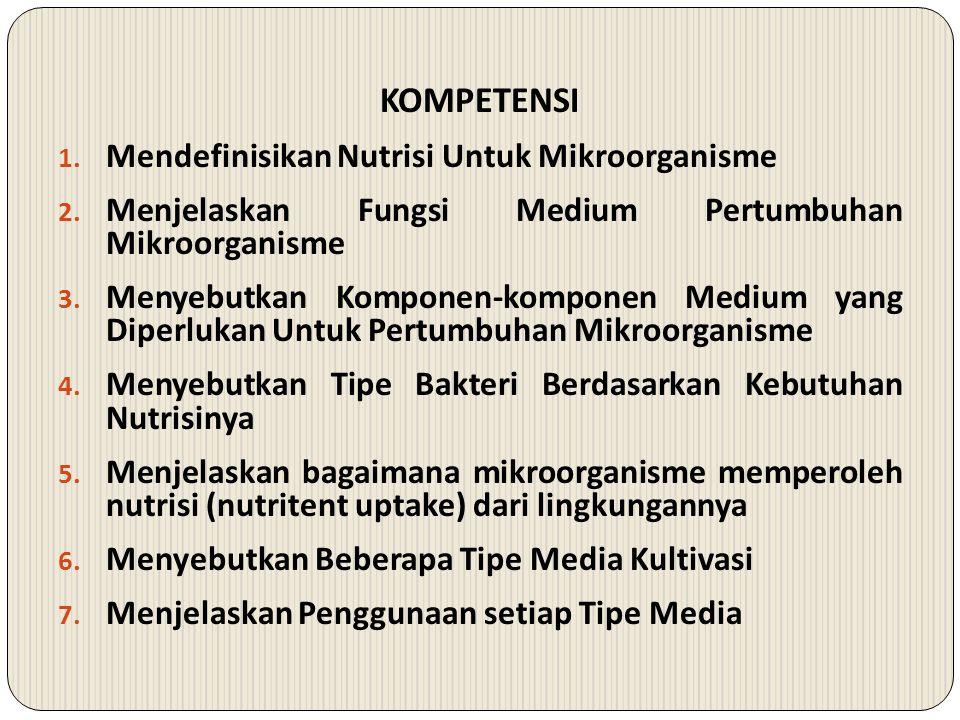 SUB POKOK BAHASAN A.Definisi Nutrisi dan Medium Mikroorganisme B.