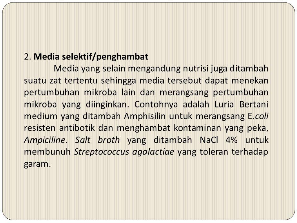 2. Media selektif/penghambat Media yang selain mengandung nutrisi juga ditambah suatu zat tertentu sehingga media tersebut dapat menekan pertumbuhan m
