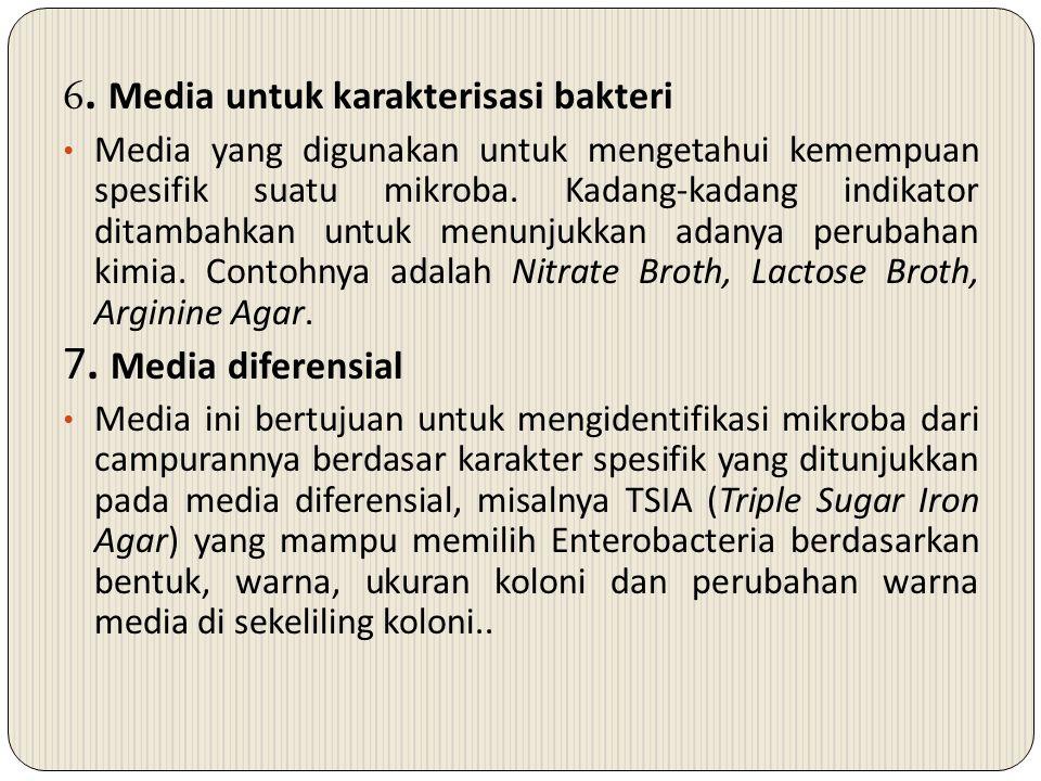 6. Media untuk karakterisasi bakteri Media yang digunakan untuk mengetahui kemempuan spesifik suatu mikroba. Kadang-kadang indikator ditambahkan untuk