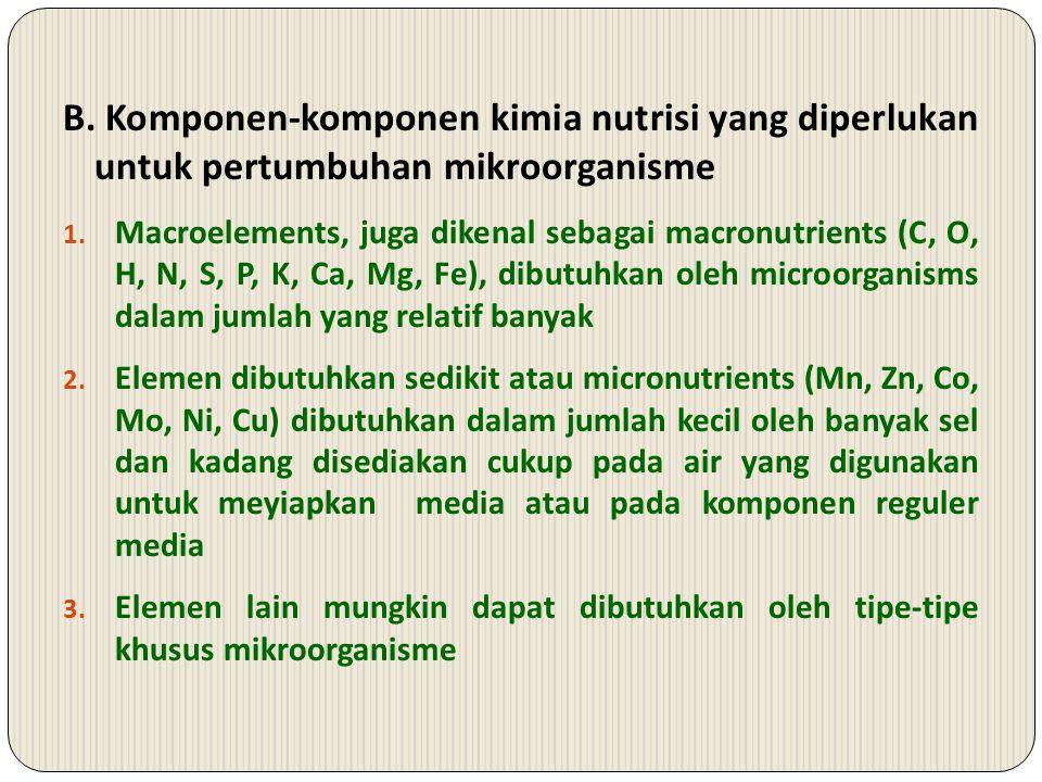 B.Komponen-komponen kimia nutrisi yang diperlukan untuk pertumbuhan mikroorganisme 1.