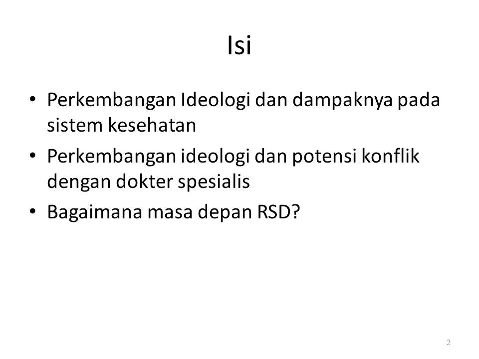 Isi Perkembangan Ideologi dan dampaknya pada sistem kesehatan Perkembangan ideologi dan potensi konflik dengan dokter spesialis Bagaimana masa depan RSD.