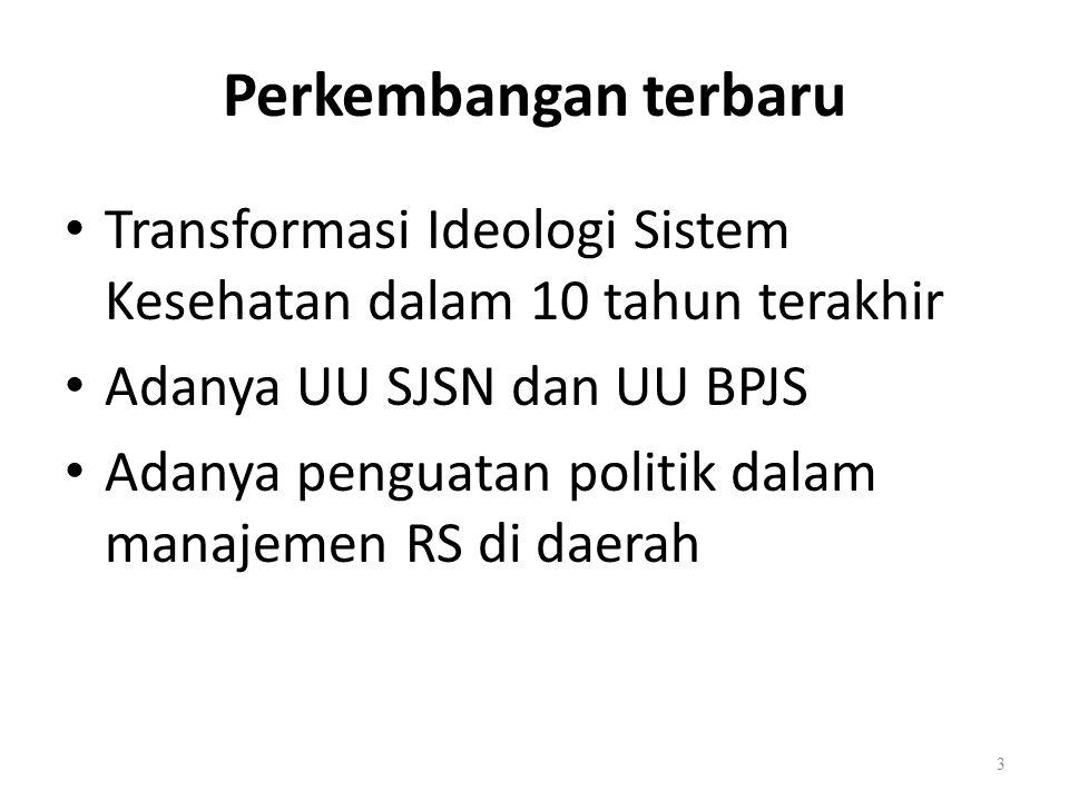 Transformasi Ideologi Sistem Kesehatan dalam 10 tahun terakhir Adanya UU SJSN dan UU BPJS Adanya penguatan politik dalam manajemen RS di daerah Perkembangan terbaru 3