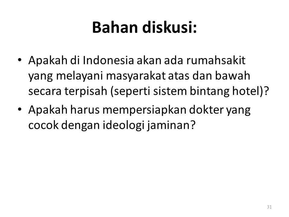 Bahan diskusi: Apakah di Indonesia akan ada rumahsakit yang melayani masyarakat atas dan bawah secara terpisah (seperti sistem bintang hotel).