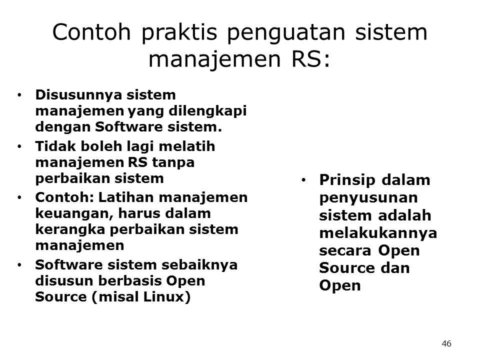 46 Contoh praktis penguatan sistem manajemen RS: Disusunnya sistem manajemen yang dilengkapi dengan Software sistem.