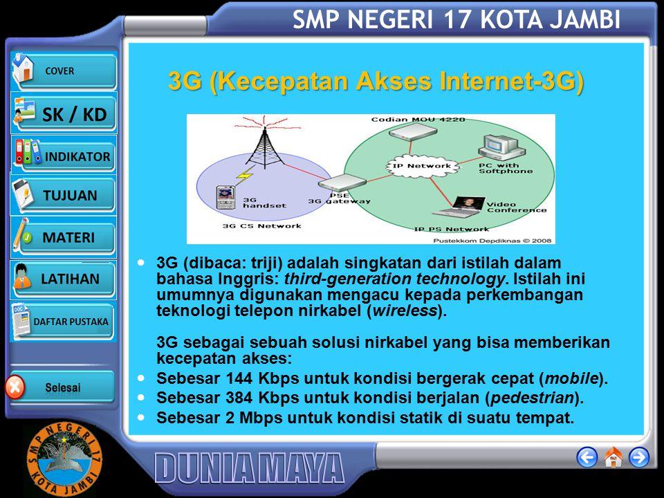 SMP NEGERI 17 KOTA JAMBI GPRS (Kecepatan Akses Internet-GPRS) Sistem GPRS dapat digunakan untuk transfer data (dalam bentuk paket data) yang berkaitan